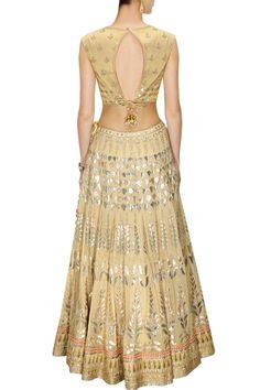 This Golden color Bridal Lehenga Choli is featuring in georgette fabric embellished with traditional gota patti embroidery. This Golden color Bridal Lehenga Choli is paired with light gold zari embroi Lehenga Choli Online, Bridal Lehenga Choli, Indian Lehenga, Saree Wedding, Ethnic Outfits, Indian Outfits, Indian Clothes, Sari Blouse Designs, Blouse Patterns
