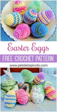 Crochet up this easy Easter egg pattern for your holiday decor or to hide for kids. You can do so many colorful variations from this basic pattern! #petalstopicots