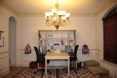 Dining room converted to kids study room, via IKEA furniture