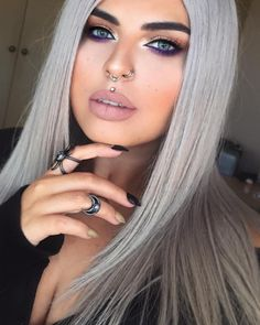 "makeupidol: ""makeup ideas & beauty tips "" Velour Liquid Lipstick, Nude Lipstick, Matte Lips, Madusa Piercing, Piercing Tattoo, Piercings Bonitos, Face Piercings, Eye Brow Piercing, Septum Piercing Girl"