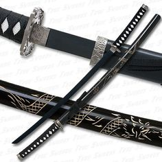 Black Katana Sword w/ Dragon Engraved Scabbard & Black Blade Ninja Weapons, Anime Weapons, Fantasy Weapons, Katana Swords, Samurai Swords, Knives And Swords, Samurai Concept, Weapon Concept Art, Martial Arts Weapons