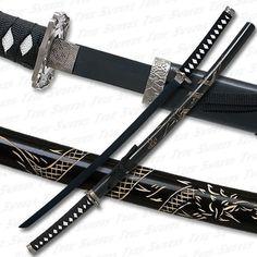 Black Katana Sword w/ Dragon Engraved Scabbard & Black Blade Ninja Weapons, Anime Weapons, Fantasy Weapons, Samurai Concept, Weapon Concept Art, Katana Swords, Samurai Swords, Naruto, Martial Arts Weapons