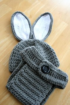 Easter Bunny Hat and Diaper Cover Set  crochet cap by JandEdoodles, $36.00