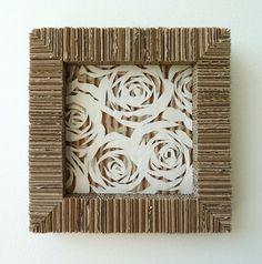 DIY wall art using 7″x7″ Frame White Roses Cardboard Upcycled
