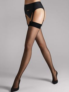 Wolford Individual 10 Black Hold-ups Wolford Stockings, Sexy Stockings, Stockings Outfit, Wolford Tights, Black Hold, Bas Sexy, Sheer Tights, Luxury Lingerie, Lace Lingerie