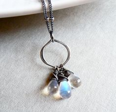 Rainbow Moonstone Necklace by karinagracejewelry