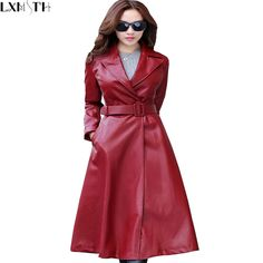 M-2XL Women Red Black Maxi Faux Leather Jacket With Belt 2016 Autumn Winter New Plus Size Long PU Leather Trench Coats For Women