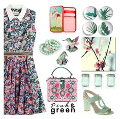 """Pink & Green"" by nicolevalents ❤ liked on Polyvore featuring Mary Katrantzou, Trademark Fine Art, Rosanna, Kilner, Benefit and Dolce&Gabbana"