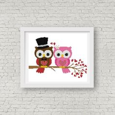 Wedding Owls Cross Stitch Pattern  INSTANT par StitchValley sur Etsy