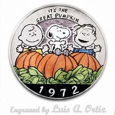 The Great Pumpkin Ike Hobo Nickel Pinup Colored & Engraved by Luis A Ortiz It's The Great Pumpkin, Hobo Nickel, Peanuts, Pinup, Hand Carved, Snoopy, Carving, History, Ebay