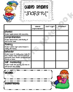 Guided Reading Snapshot. This is a wonderful chart for teachers to use to assess students. It could be used at the beginning and the end of a unit to compare student's progress. While it would be time consuming to do individually with each student, it could be very beneficial to learn where students are at before choosing books for the school year.