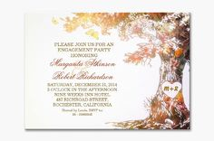 Cute colorful love heart tree engagement party invitations with initials. Perfect engagement party invite for fall - autumn engagement party.
