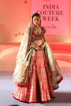 Anju Modi Kashish Collection Embellished Red #Lehenga With Mint Dupatta & Burgundy #Blouse At Amazon India Couture Week 2015.