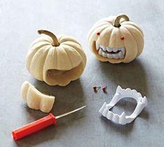 Kürbis Fratze Gruselig-Basteln Zähne-Vampir Halloween-Ideen