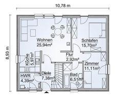 Grundriss Erdgeschoss Bungalow Mit Dachgeschoss Ausbau   Haus Bauen Ideen  Fertighaus SH 80 B PLUS 40