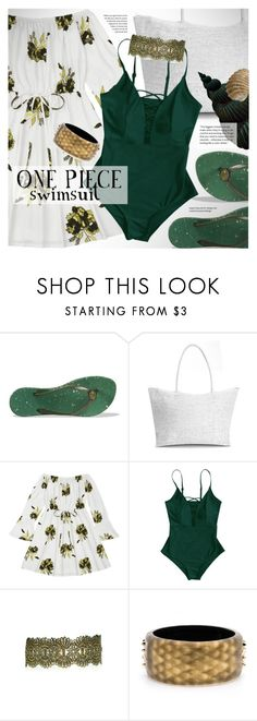 """""""Green lace up one piece swimsuit"""" by vn1ta ❤ liked on Polyvore featuring Amazonas and Alexis Bittar"""