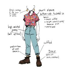 """sabertoothwalrus: """" koko-nutte: """" sabertoothwalrus: """" I've realized my Ideal Outfit is this: button-ups, high-waisted jeans, and Docs. You literally can't go wrong. Vintage Glam, Drawing Clothes, Mode Streetwear, Character Outfits, Character Design Inspiration, Look Cool, Aesthetic Clothes, Fashion Outfits, Queer Fashion"""