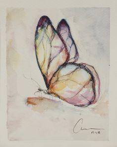 Collecting Butterflies | Ana Traba de la Gándara. Watercolor and pen