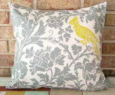 Warm Gray & Citron.  Botanical Bird Toile Pillow Cover on #etsy