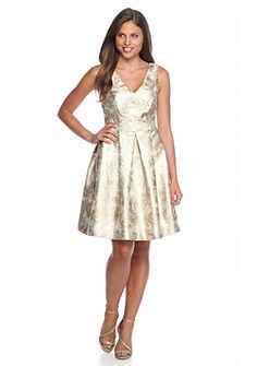 Jessica Simpson Metallic Print Fit and Flare Dress