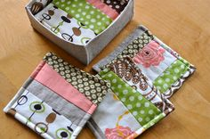 Tutorial: patchwork coasters and box - love that this has a box to store them in too.