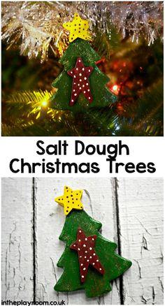 Salt dough christmas tree ornaments for kids to make