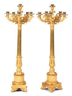 Pair of magnificent gilt bronze Girandoles, France, beginning of the 19th century. Height: 91cm