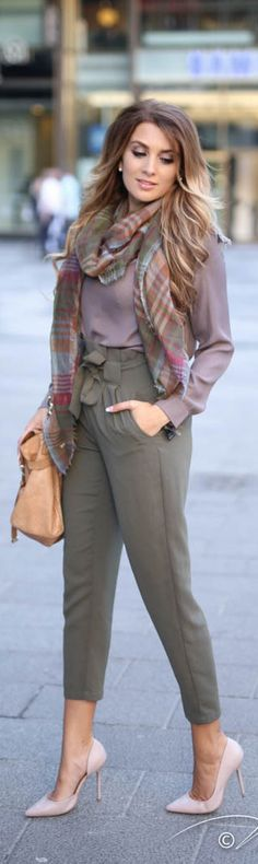 Earth Tones / Fashion by Anna.....the colors are beautiful and I love that scarf, just not diggin those pants
