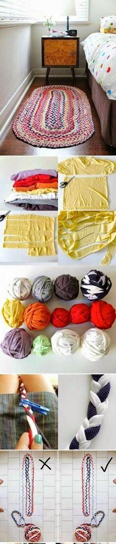 6 tutorial che ci insegneranno come creare dei bellissimi tappeti riciclando le vecchie magliette.