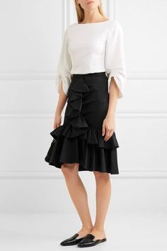 TOME - Ruffled Cotton-twill Skirt - Black - US6
