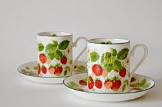 2 Vintage England Roy Kirkham fine bone china Strawberry tea cups and saucers / Fruit garden collection strawberries tea cup and saucer by FancyBouskette on Etsy https://www.etsy.com/listing/239454362/2-vintage-england-roy-kirkham-fine-bone