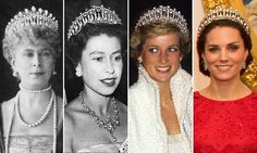 The dazzling diamond and pearl Cambridge Lover's Knot tiara was once owned by Princess Diana - and was kept in a safe at Buckingham Palace after her death before it was handed to Kate.