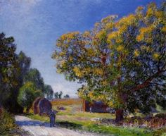 Fields around the Forest, 1895, oil on canvas,  54 x 65 cm, Private Collection.Impressionist. Alfred Sisley (1839-1899).