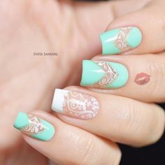 July nails, Mint and white nails, Mint gel polish, Mint nails, Nails under mint dress, Pattern nails, Summer nails 2016, White and turquoise nails