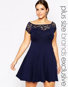 Image 1 of New Look Inspire Lace Bardot Skater Dress