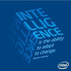 """""""Intelligence is the ability to adapt to change."""" - Stephen Hawking"""