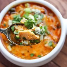 Paleo Buffalo Chicken Soup Ingredients 1 head of cauliflower, chopped 4 Organic chicken breast 2 Tbsp Organic chicken stock 2 Tbsp Organic raw honey 3 stalks of celery 1 cup Franks red hots sauce 1 onion, diced 1 tsp black pepper 1 Tbsp garlic powder 1/2 Tbsp onion powder 1/2 cup coconut milk 1/2 Tbsp fresh parsley 1/2 Tbsp chives 1/2 Tbsp dried dill 1/2 cup chopped cilantro