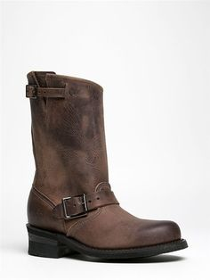 NEW FRYE ENGINEER Women Hot Leather Moto Biker Mid Calf Boot Gray Brown sz Smoke #Frye #Motorcycle
