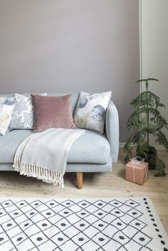 Designed by Minna Niskakangas, the Hiutale (Flake) pattern is inspired by Christmas and winter glow. The pearly shine of Hiutale cushion cover highlights the festive feeling of this pattern. The cushion cover is cm in size and pairs perfectly with a Furniture, Christmas 2017, Cushions, Love Seat, Home Decor, 2017 Design, Inspiration, Cushion Cover, Pillow Cases
