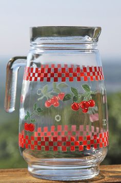 Christmas In July Sale - Vintage Cherry and Checker Glass Pitcher. $12.00, via Etsy.