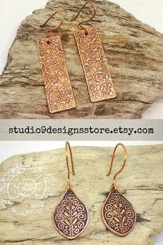 Dangle earrings Drop earrings Copper earrings Boho earrings Tribal earrings Ethnic earrings Birthday gift for her Boho jewelry Womens gift Copper Earrings, Copper Jewelry, Teardrop Earrings, Boho Earrings, Etsy Earrings, Gypsy Look, Boho Look, Boho Style, Handmade Market