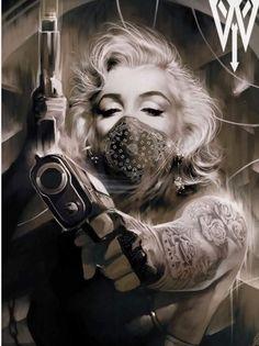 Marilyn Monroe by Wizyakuza Chicano Tattoos, Chicano Art, Sexy Tattoos, Body Art Tattoos, Music Tattoos, Tatoos, Marilyn Monroe Artwork, Marilyn Monroe Tattoo, Marylin Monroe