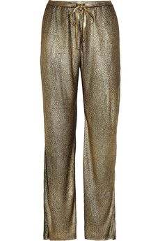 Emilio Pucci Metallic ribbed silk-jersey pants | THE OUTNET