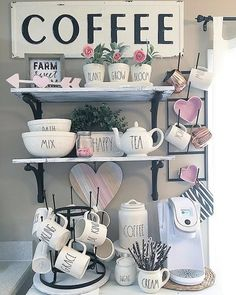 Oh coffee, will you be my Valentine? Love this sweet #coffeebar all dressed up in pink & red for #ValentinesDay. Thx for including our Coffee #walldecor! #kitchendecor #homedecor