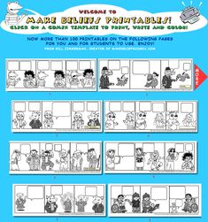 Comic strips for students to fill in. Great for foreign languages, vocabulary words, conversational writing, etc.
