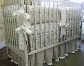 """Storybook Style Bright White Washed Linen Crib Bedding-2"""" Ruffled Bumpers. $350.00, via Etsy."""