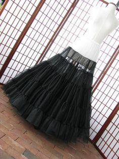 Petticoat schwarz & White Chiffon Stock Länge von DawnsAtelier