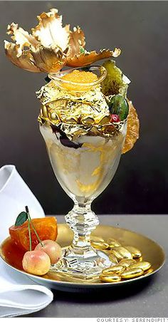 LUXURY ITEMS.  A Glamorous Life.  The $1,000.00 Golden Opulence Sundae from Serendipity 3 in Manhattan- . . #luxury