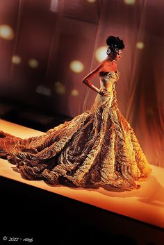 Tex Saverio. **holy cow. So much detail on this dress. I wonder how long the beading took.**
