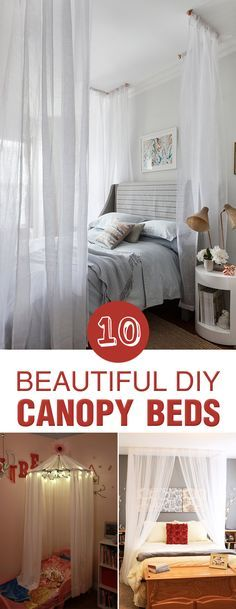 Beautiful DIY Canopy Beds A canopy bed is a great and inexpensive way to add the perfect sense of style to your bedroom.A canopy bed is a great and inexpensive way to add the perfect sense of style to your bedroom. Canopy Bedroom, Diy Canopy, Girls Bedroom, Bedroom Decor, Canopy Beds, Master Bedroom, Bedroom Ideas, Window Canopy, Decorating Rooms